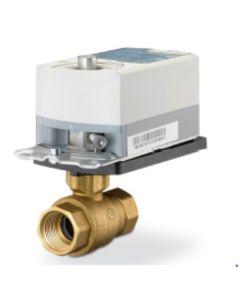 Siemens 2-way 3/4 inch, 25 Cv ball valve with chrome-plated brass ball and brass stem, 200 psi close-off, NPT